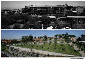 Parco collina della pace prima e dopo l'intervento con abbattimento dell' ecomostro