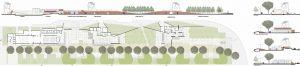 Planimetria dell'intervento con sezioni di Progetto significative