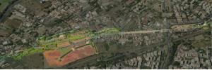 localizzazione aerea dell'estensione del parco all'interno della realtà urbana